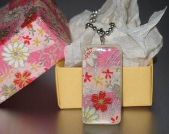 Decoupage Domino Tile Handmade Necklace, Pink Washi Paper Domino Pendant on Ball Chain Necklace in Matching Origami Box