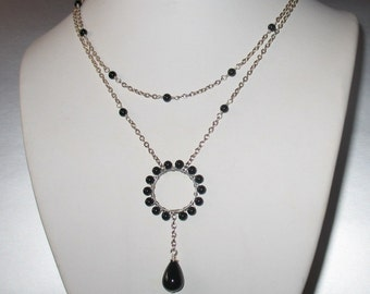 Double Layered Y Necklace in Black and Onyx - Wire wrapped Circle Pendant on Silver Chain with Onyx Drop Necklace