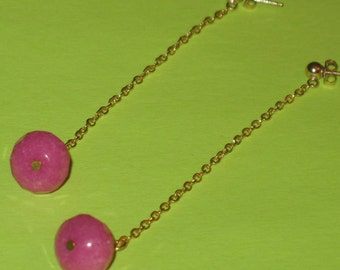 Fuchsia Beads on Long Gold Chain Gold Post Swing Earrings, Handmade Fuchsia and Gold Shoulder Duster Earrings