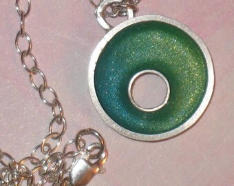 Blue Green Circle Pendant on Sterling Silver Chain Necklace