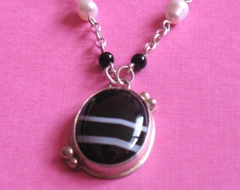 Black with White Stripes Tuxedo Agate Oval Pendant on Sterling Silver Chain with White Pearls Necklace