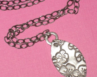 Cherry Blossom Stamped Fine Silver Marquis Pendant on Sterling Silver Chain Necklace