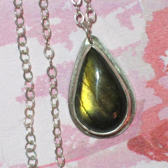 Tear Drop Gold Flash Labradorite Pendant on Sterling Silver Chain Necklace