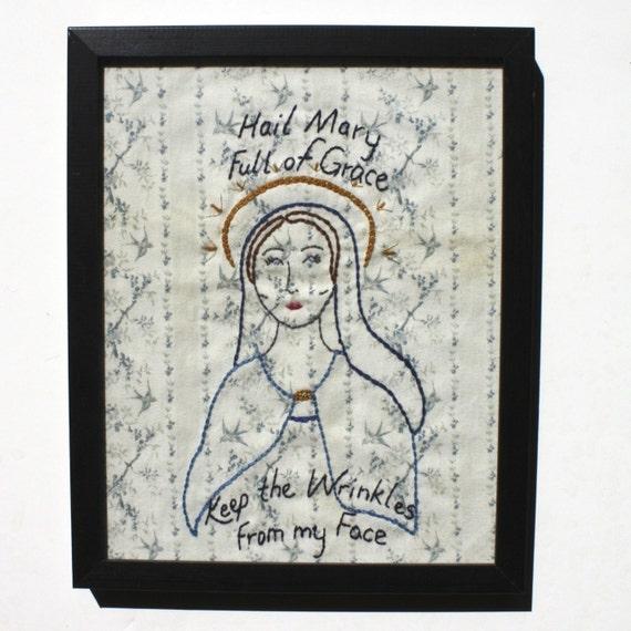 Hail Mary Full of Grace - Hand Embroidered - Framed