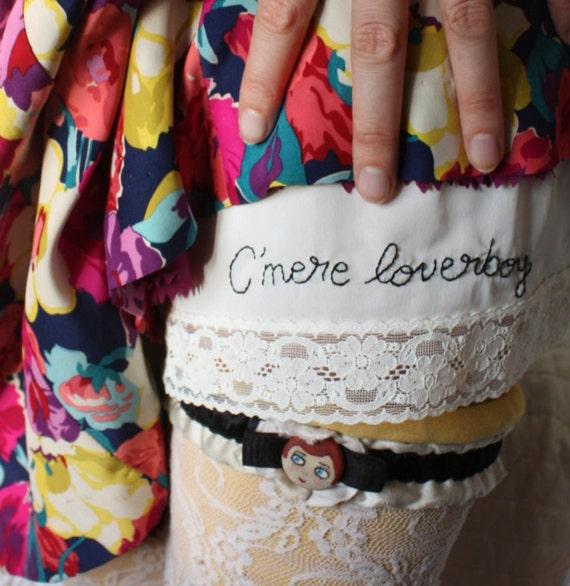 C'mere Loverboy - Large -  hand embroidered - full white slip - lingerie