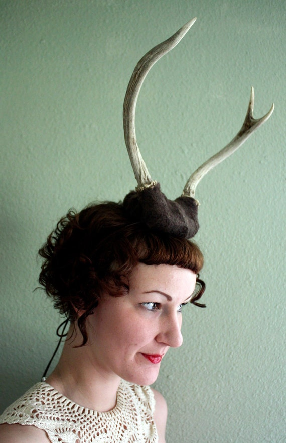 Deer Antler Headband - brown base with two prong horns