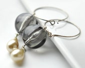 Storm earrings-  vintage glass and lucite with silver hoops