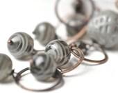 Grey vintage glass beads and handmade oxidized copper hoops earrings - FOG earrings betsy3