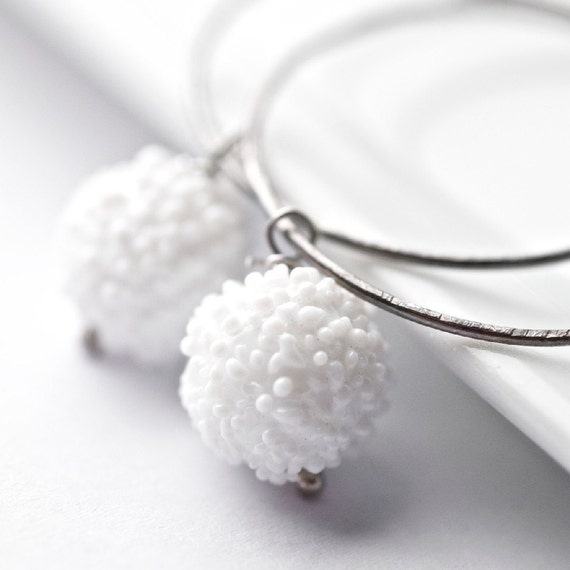 Neve Earrings - Vintage sugar glass beads sterling silver