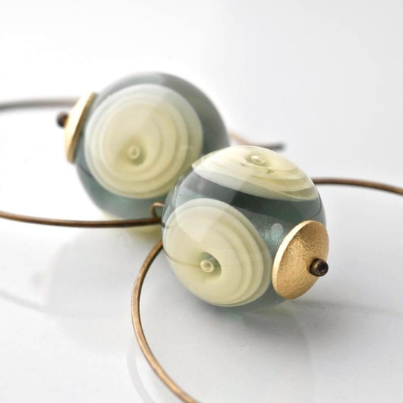 Grey and ivory earrings Murano glass beads and oxidized brass hoops ONDE earrings betsy3