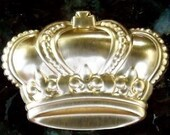 Brass jewelry supplies Crown large crown puffy brass metal quantity TWO royal queen king princess embellishment stamping