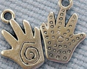 G14 hand charm tibetan silver metal jewelry findings  quantity  five  measures 3/4 inch spiral design