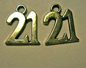 21 charm  the number twenty one silver tone quantity 4 charms jewelry findings  h10