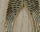 Large gold  Angel Wings butterfly huge  1 7/8 inches long quantity 2  tu8  charms pendants jewelry findings