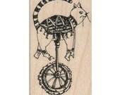 Large Wood block stamp printer scrapbooking supplies steampunk cat on unicycle bicycle no. 18371