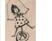 Large Wood block stamp printer scrapbooking supplies steampunk girl on unicycle bicycle jumping rope