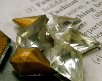 nyc2 crystal gold foil backed vintage 15 / 11 mm  made in western germany us zone quantity 8