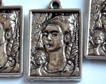 charm pewter Frida  Self Portrait in a frame   ccd9  QUANTITY ONE  mexican day of the dead artist painting
