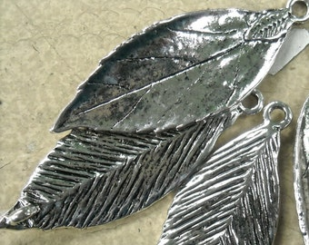 antiqued silver leaf connectors pendant charm leaves   mij6  quantity four jewelry findings supplies
