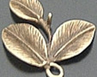 4 leaf drops jewelry findings antiqued bronze   quantity four measures 23x23mm  H17