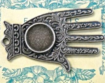 Focal large Hamsa Hand of Fatima dish pendant findings drop jewelry RB1