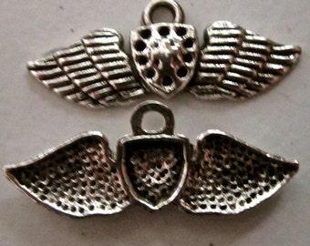 WINGS  pendant charm drop wings   antiqued silver quantity four  mij18