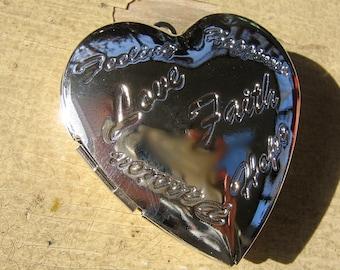 Valentine heart locket pendant Love Faith Large silver  plated  3d  Z3