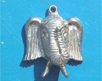 Large elephant charm pendant pewter made in america 3d jewelry findings  WV3