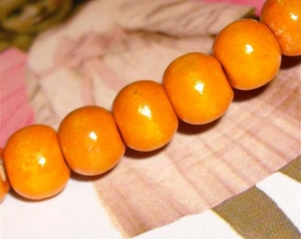 Beautiful wood beads  orange yellow supplies for jewelry and crafts pumpkin WB5
