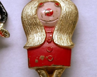 vintage bottle opener little fat girl in red dress and hair bow  humor