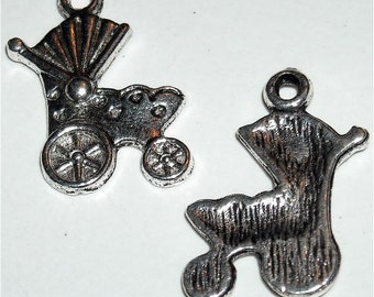 Baby shower charms baby carriage stroller buggy charm tibetan silver   spacer 24x9mm   quantity five A2
