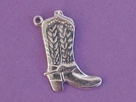 cowboy boot charm cowgirl western pendant pewter no lead  two charms  wv22