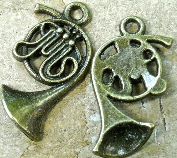 medium 3d Tuba, French horn, antiqued bronze   charm pendant quantity 4    tu16