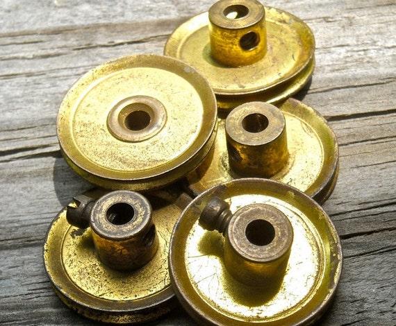 Industrial Steampunk supplies 3 brass pullies vintage toy metal Meccano England