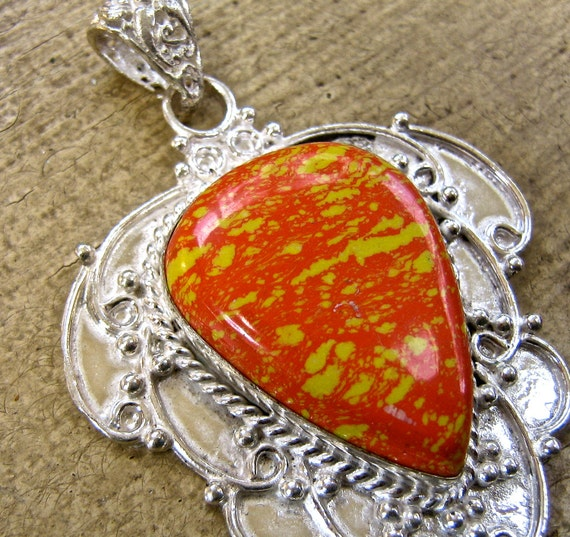 Jasper and silver plated pendant jewelry supplies findings gemstone  drw550
