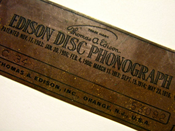 Edison Phonograph  manufacturers  ID tag VIctrola talking machine tag metal   g STEAMPUNK