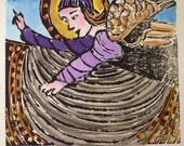 Angel I  - Original woodblock print