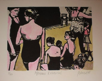 Afternoon Rehearsal - Original Woodblock Print