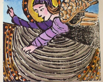 Angel I  - Original woodblock print