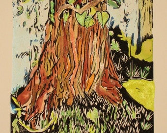 The Wishing Tree - Original Woodblock Print