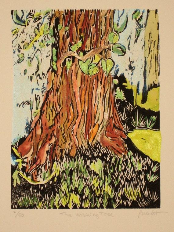 The Wishing Tree - Original Woodblock Print