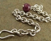 Heavy Silver Chain Bracelet with Large Red Ruby, Sterling Silver Bracelet, Heavy Silver Bracelet, Sterling Bracelet