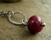 Red Ruby Sterling Silver Necklace Hammered Rustic Oxidized Silver Ruby Necklace Ruby Jewelry