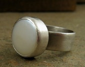 Chunky Pearl Ring Large Coin Pearl Sterling Silver Wide Band Ring, Fresh Water Pearl Jewelry