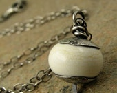 river rock. rustic lampwork oxidized sterling silver necklace