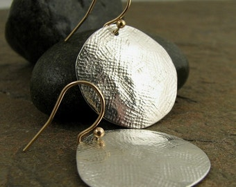 Large Silver Disc Earrings, Hammered Silver Earrings, Mixed Metal Gold & Silver Dangle Earrings 925 Silver Earrings, Sterling Earrings