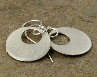Large Silver Earrings, Minimal Sterling Silver Disc Earrings Brushed Satin Finish, Contemporary Jewelry