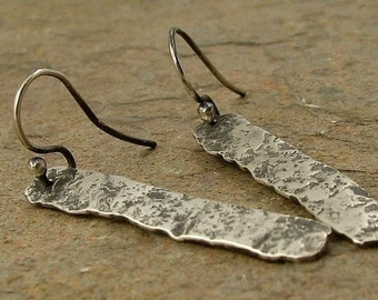 Rough Hammered Silver Earrings, Rustic Oxidized Sterling Silver Bar Earrings, Distressed Organic Industrial Jewelry