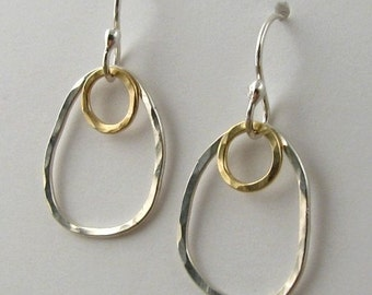 Mixed Metal Gold and Silver Earrings 14k Gold Filled Hammered Silver Dangle Earrings Simple Silver Earings
