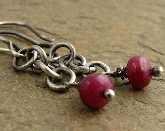 Ruby earrings, oxidized sterling silver earrings. Red ruby gemstones silver earrings